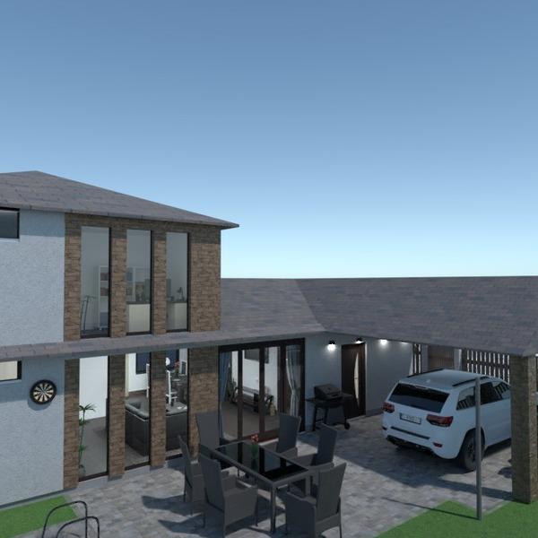 nuotraukos namas terasa garažas eksterjeras idėjos