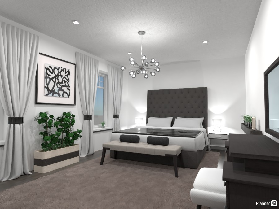 Luxurious bedroom: black and white 86954 by Gabes image