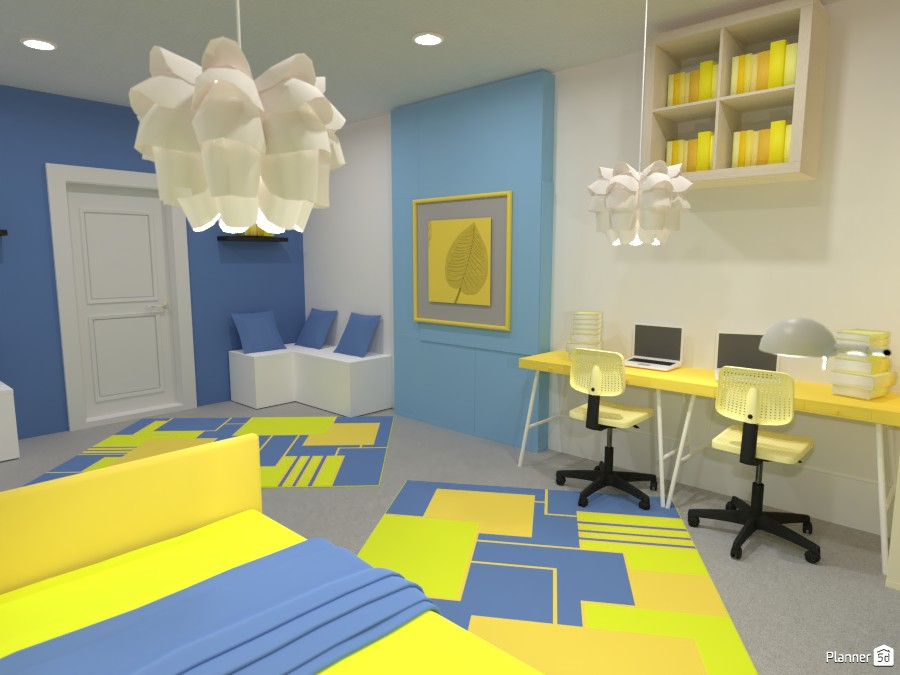 Yellow And Blue Bedroom 4520302 by Mark image