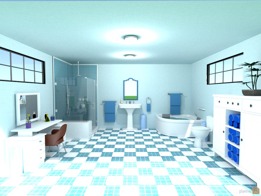 blue and white chck bathroom 818962 by Joy Suiter image