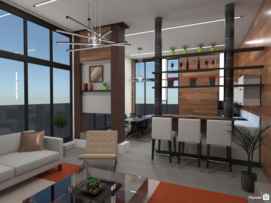 Penthouse room : kitchen and living room 86026 by Gabes image