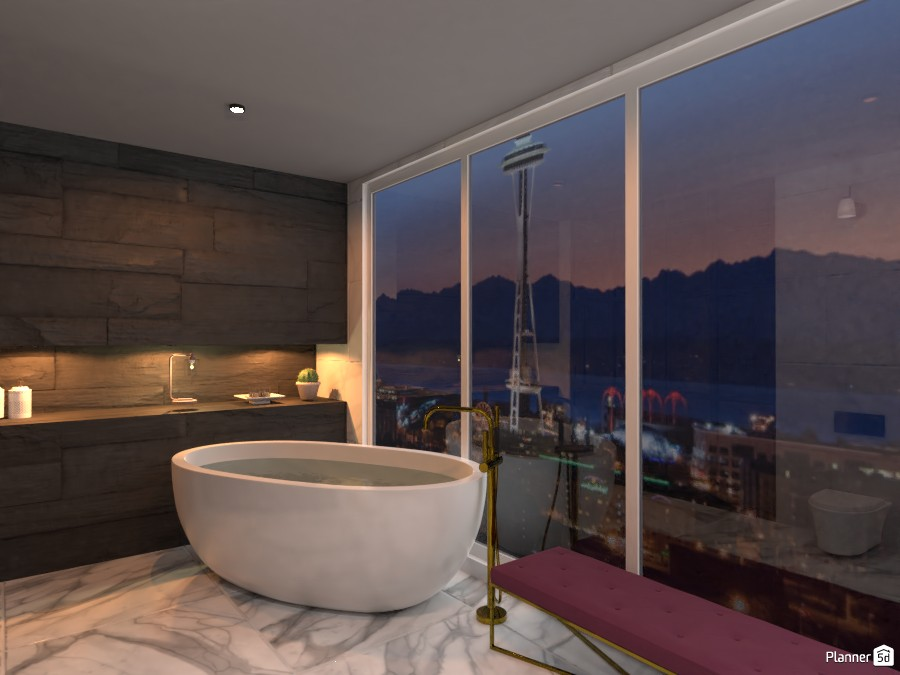 Bathroom with night view 3661741 by rilly image