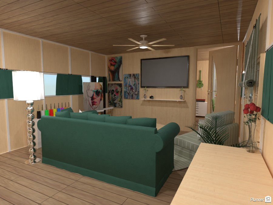 Sage Green Theme Tiny Home Living Room 4111812 by chrissyyyy image