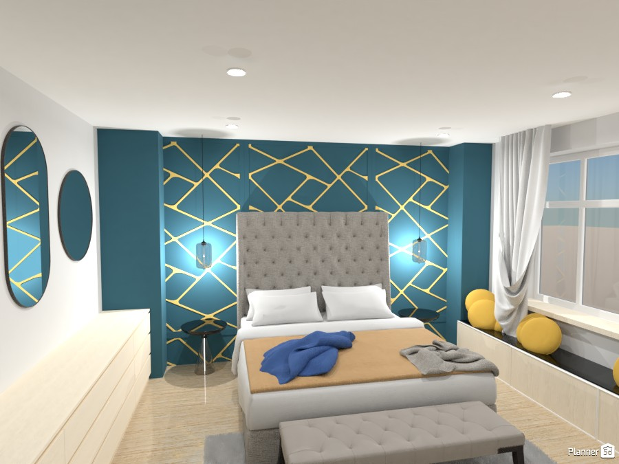 Bedroom with contrasting colours 4627697 by Mia image