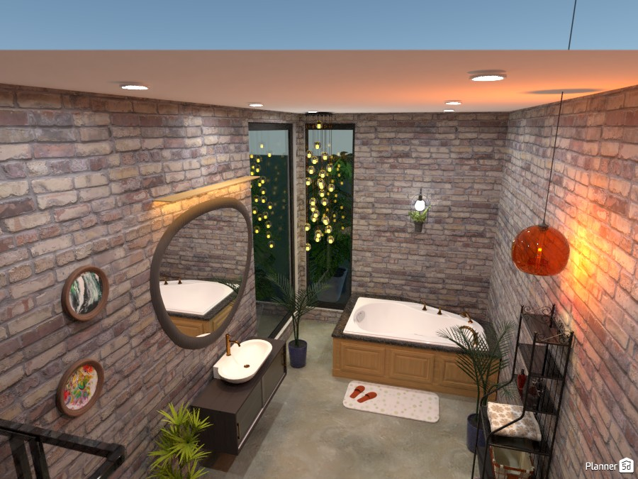 Another view of bathroom - brick walls, plants 4601371 by Born to be Wild image