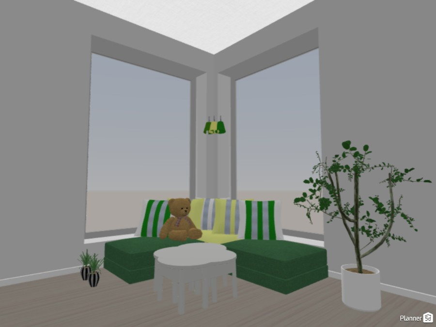 Green and Yellow Twin Bedroom 84125 by Cute Doggy image