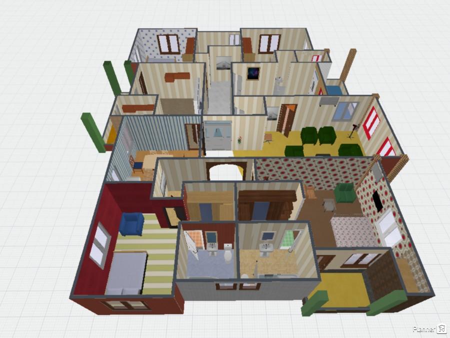 4 Bedroom House Free Online Design 3d House Floor Plans By Planner 5d