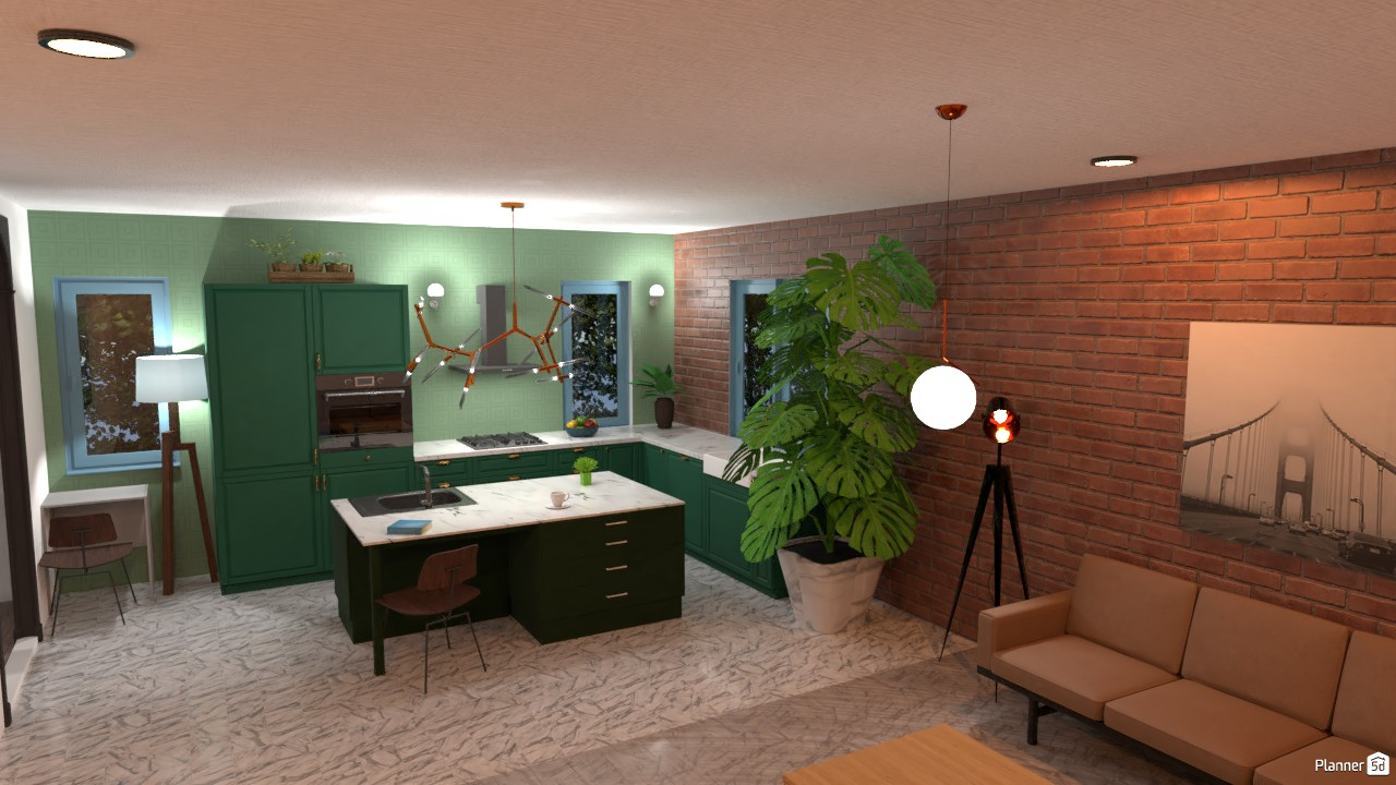 A modern kitchenwith small living room (Living room unfinished) 84085 by SpruceBison image