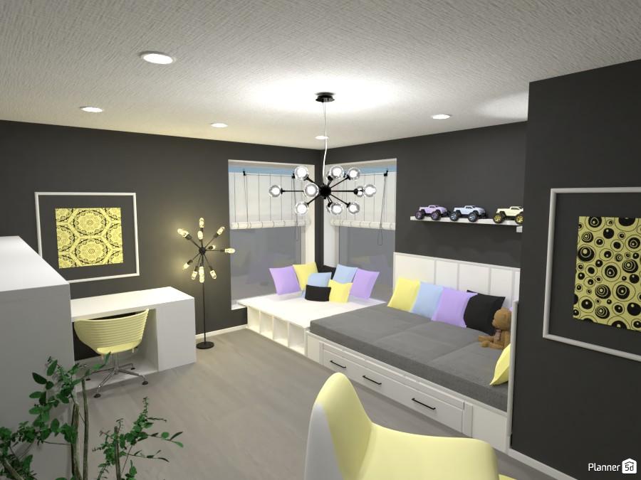 Habitación juvenil amarilla y gris. - Proyecto 84094 by Laura image
