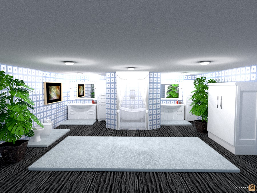 blue and white tile bathroom 806573 by Joy Suiter image