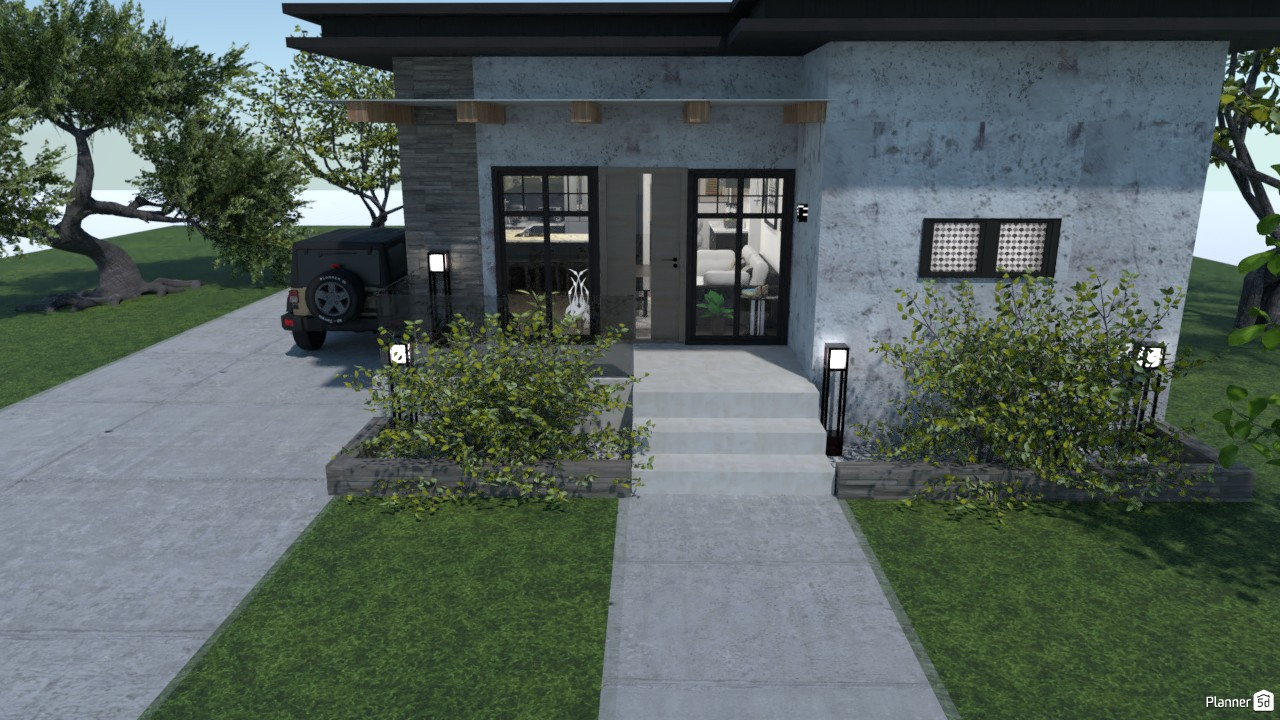 single story modern flat roof 86704 by Tina Smith image