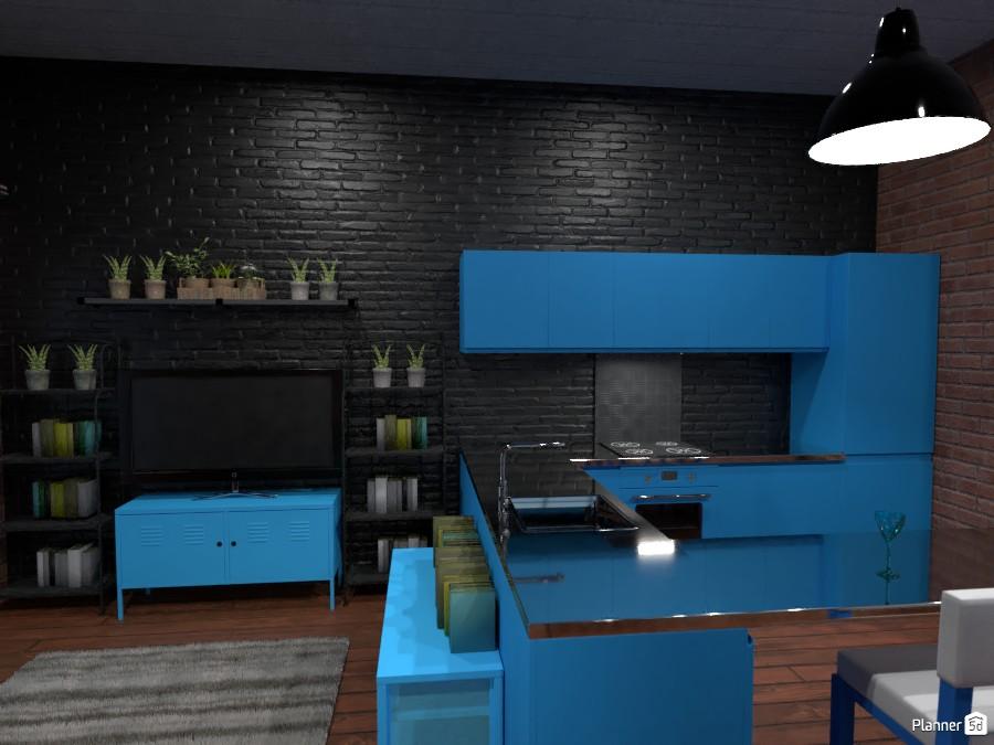 Loft in brick and blue 85781 by Rita Oláhné Szabó image