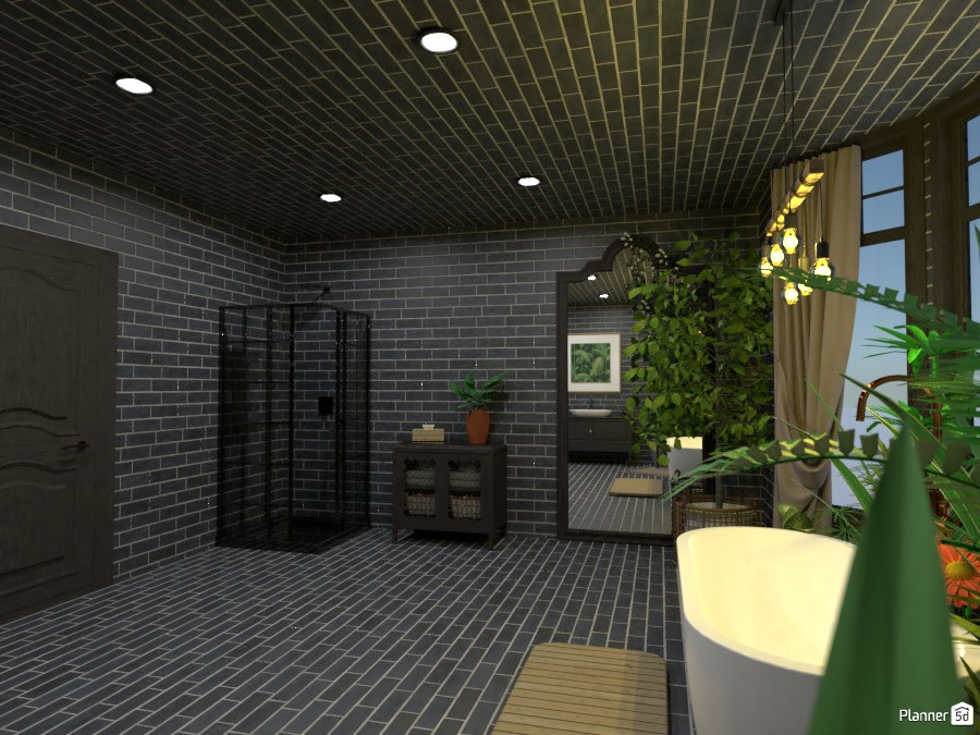 Black Brick Bathroom 84521 by Random1997girl image