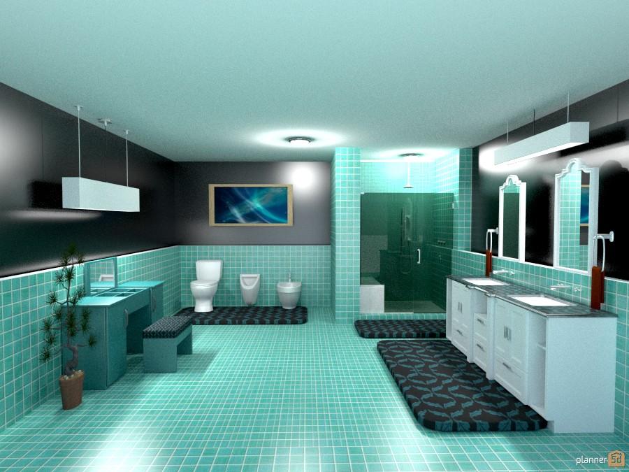blue/green tile bathroom 807854 by Joy Suiter image