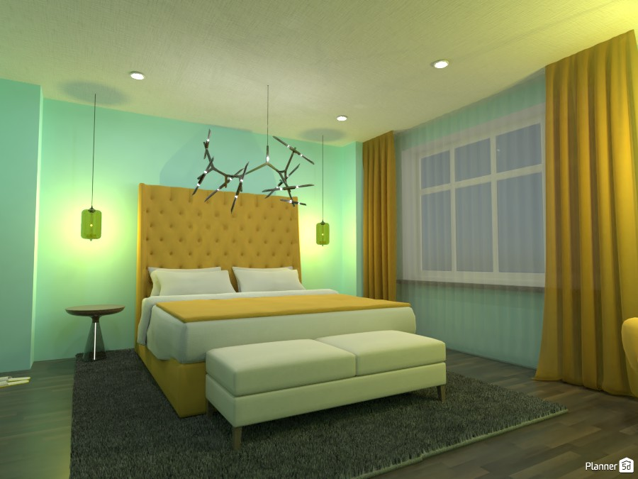 Blue and Yellow Bedroom 88012 by Doggy image