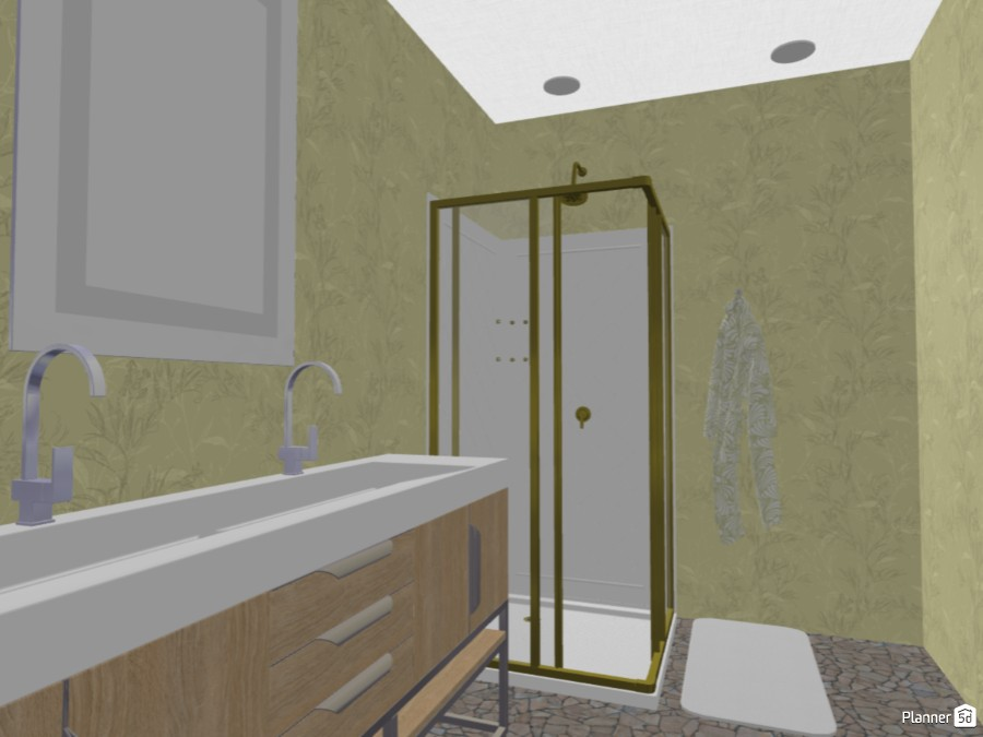 Gold and white bedroom and bathroom 84436 by Art lover image