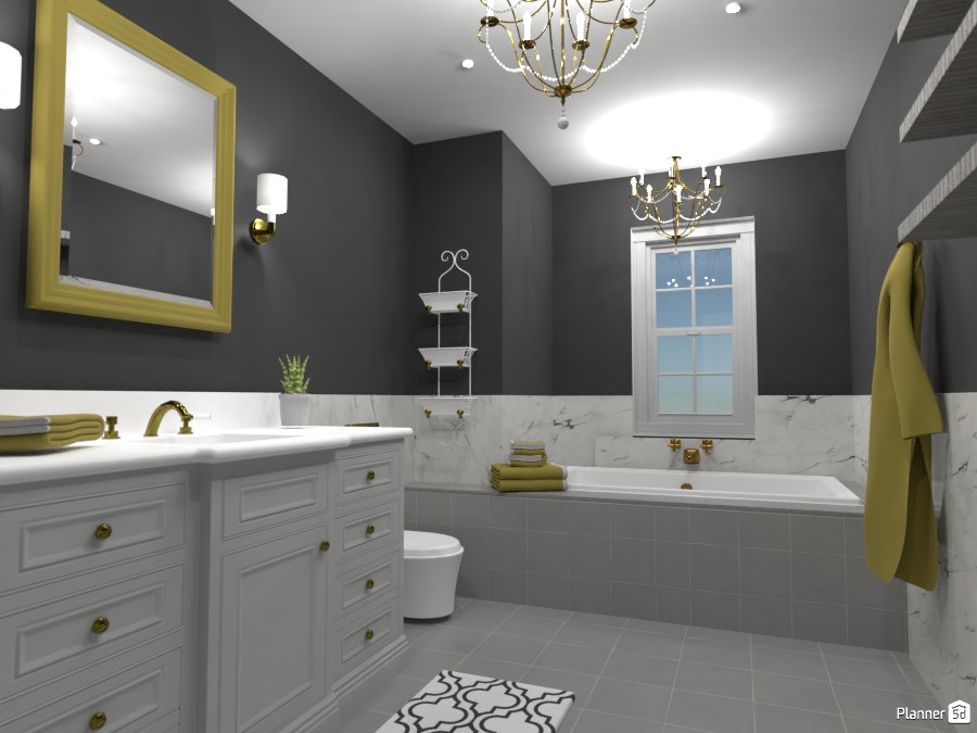 Black, White and Gold bathroom! 88924 by Doggy image