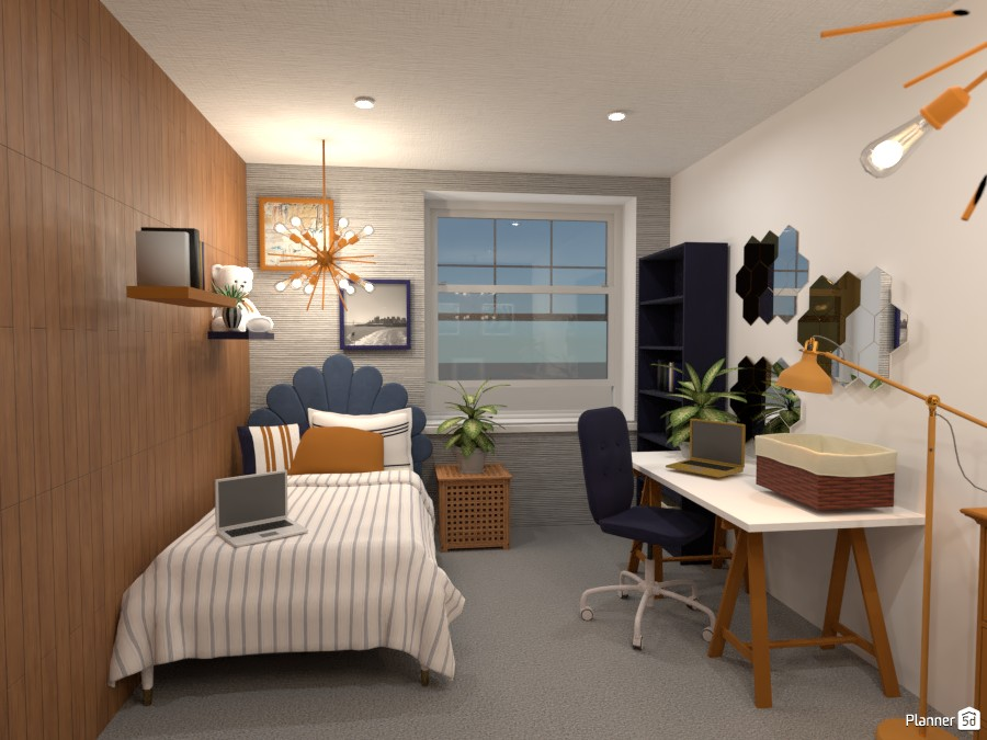 blue,gold,white,wood teenagers room. 4669416 by Anonymous:):) image