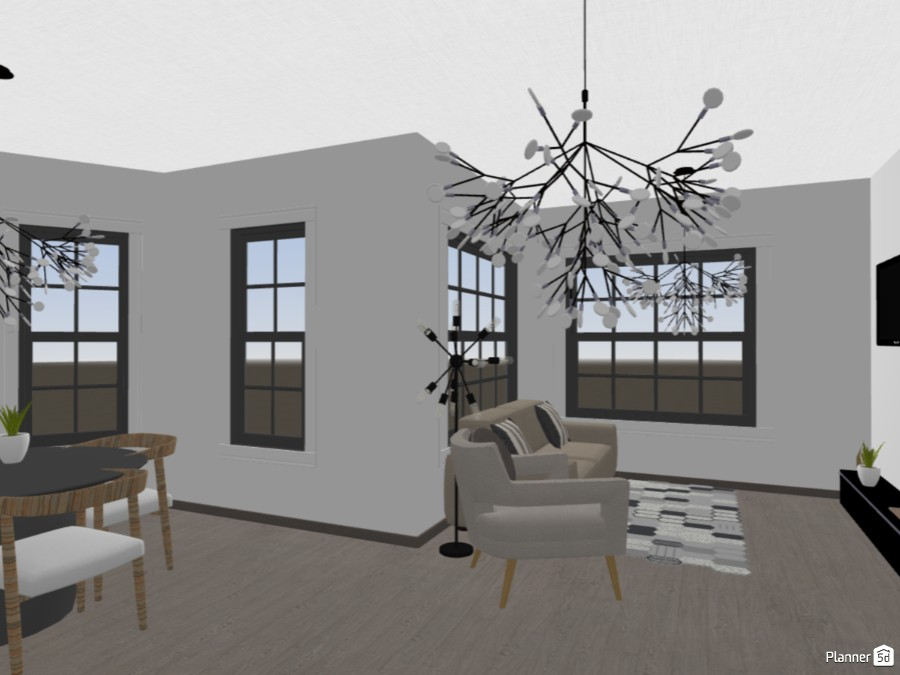 Black and white themed dining room and living room 84437 by Art lover image