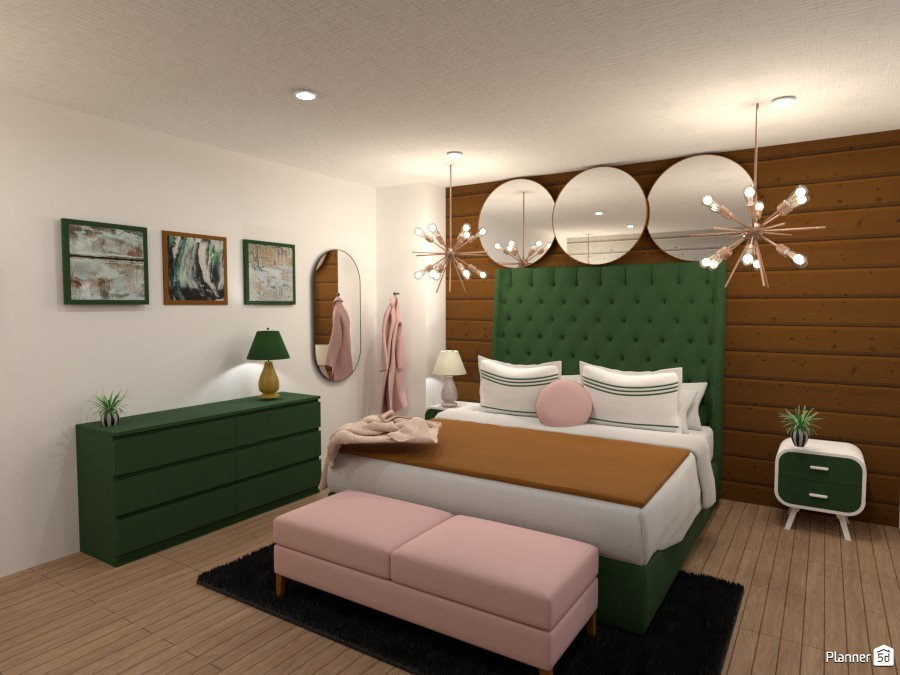 Dark green, gold and, light pink bedroom 4623967 by Anonymous:):) image