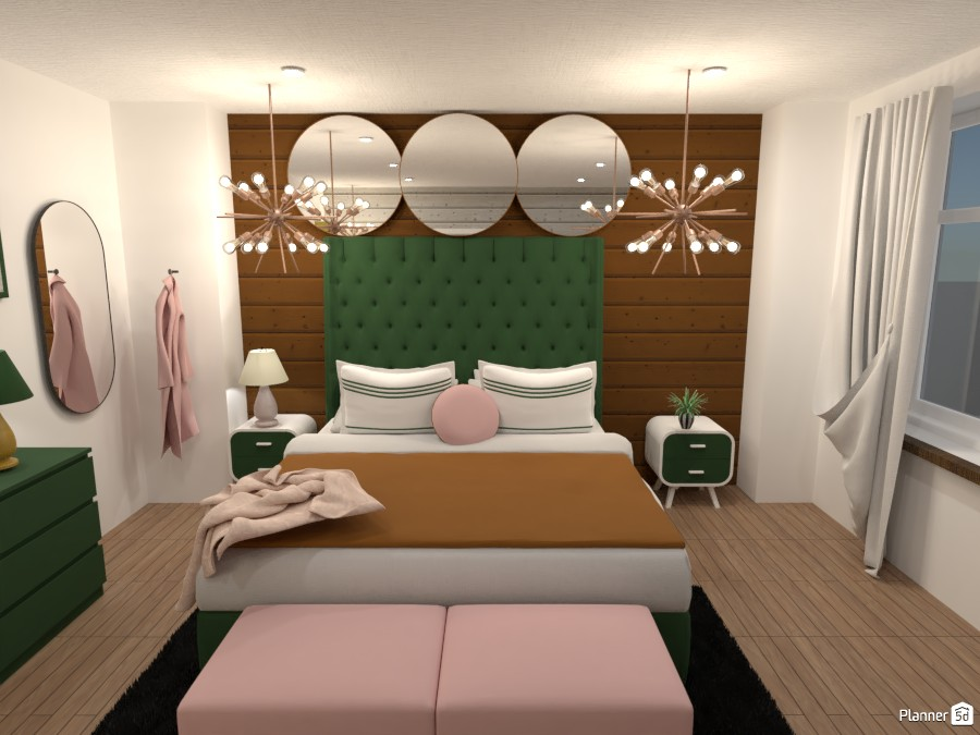 Dark green, gold and, light pink bedroom 4623969 by Anonymous:):) image