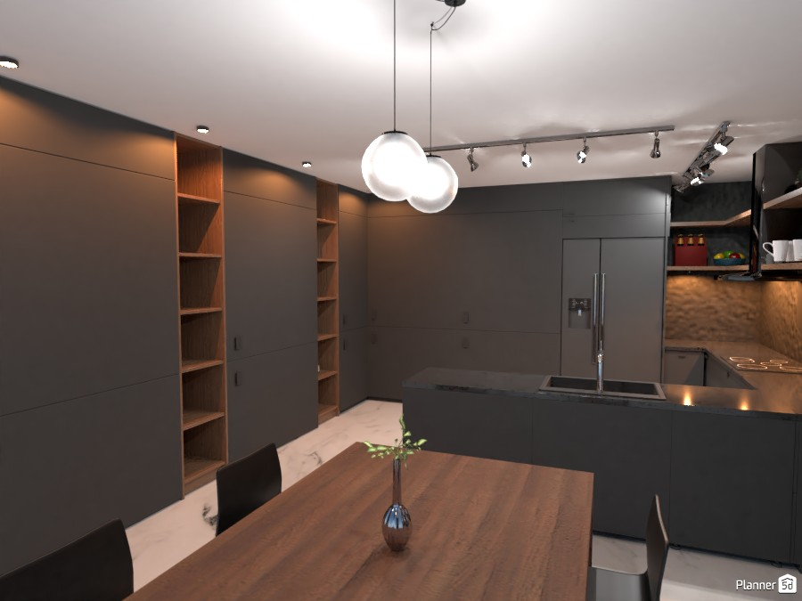 Wood and Black Kitchen 85099 by rilly image