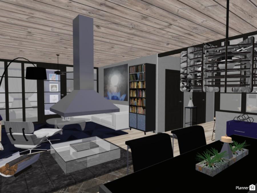 Blue theme Modern Apartment 74205 by Mardilyn McCellan image