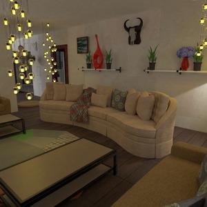 floorplans casa varanda inferior mobílias iluminação sala de jantar 3d