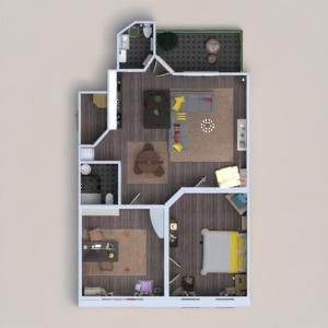 floorplans apartamento quarto quarto estúdio 3d