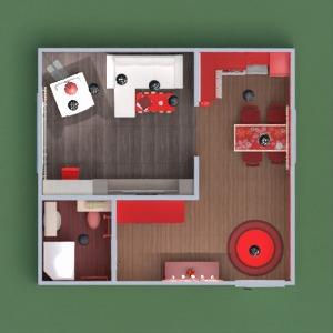 floorplans appartement meubles décoration salle de bains salon cuisine eclairage studio entrée 3d