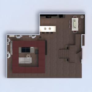 planos casa muebles salón cocina iluminación comedor 3d