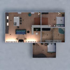 floorplans apartamento mobílias decoração banheiro quarto quarto cozinha escritório iluminação 3d