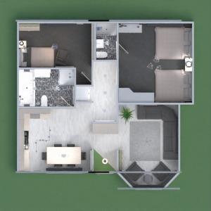 planos casa cuarto de baño dormitorio salón cocina 3d