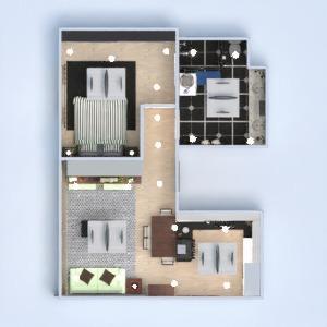 planos apartamento dormitorio cocina iluminación 3d