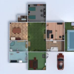 floorplans casa mobílias decoração banheiro quarto quarto cozinha área externa paisagismo 3d