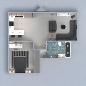 planos apartamento muebles cuarto de baño dormitorio cocina 3d