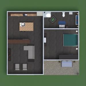 planos casa cuarto de baño salón cocina descansillo 3d