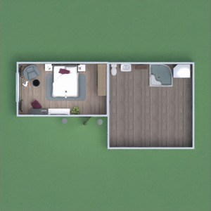 floorplans baldai dekoras vonia miegamasis 3d