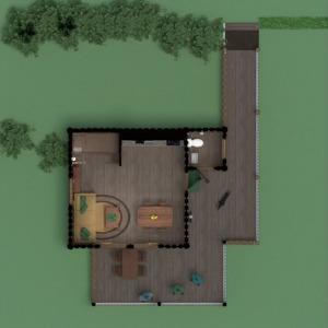 planos casa terraza salón cocina exterior paisaje arquitectura descansillo 3d
