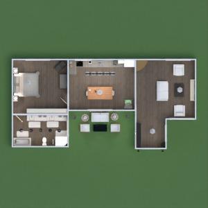 floorplans appartement meubles décoration salle de bains chambre à coucher salon cuisine extérieur eclairage entrée 3d