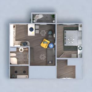 floorplans apartamento mobílias decoração banheiro quarto quarto cozinha 3d