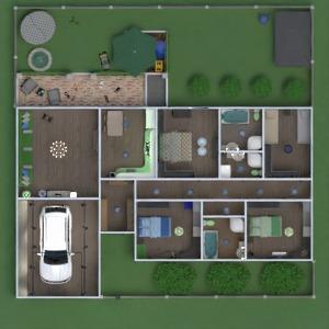 floorplans maison terrasse meubles salle de bains chambre à coucher salon garage cuisine extérieur chambre d'enfant espace de rangement entrée 3d