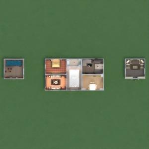 floorplans maison terrasse meubles décoration salle de bains chambre à coucher salon cuisine extérieur paysage architecture 3d