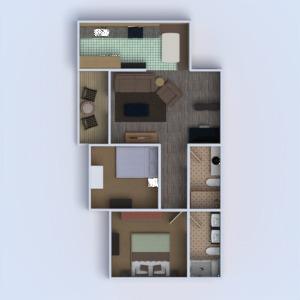 floorplans appartement terrasse meubles salle de bains chambre à coucher salon cuisine rénovation entrée 3d