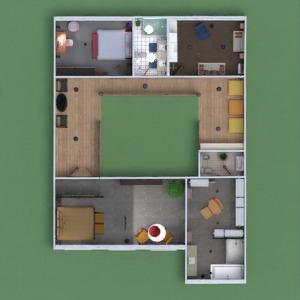 floorplans casa varanda inferior mobílias decoração quarto infantil 3d