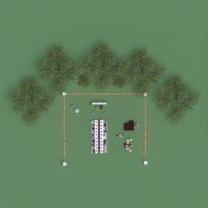 planos decoración exterior paisaje cafetería 3d