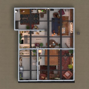 floorplans apartamento mobílias decoração cafeterias 3d