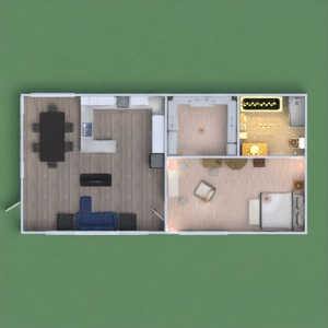 floorplans apartamento cozinha área externa 3d