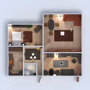 planos apartamento decoración cuarto de baño dormitorio salón cocina descansillo 3d