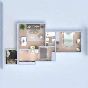 planos apartamento dormitorio salón cocina 3d